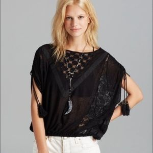 Black lace Free people top tassels New Romantics